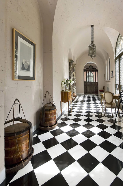 vct flooring Hall Traditional with antiques archway black and