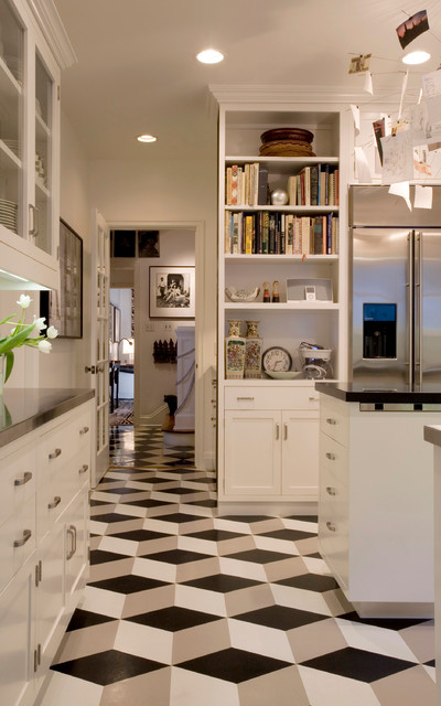 Vct Tile Kitchen Modern with Black and White Black