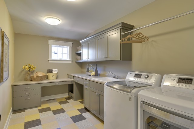 Vct Tile Laundry Room Traditional with Built in Desk Checkered Floor