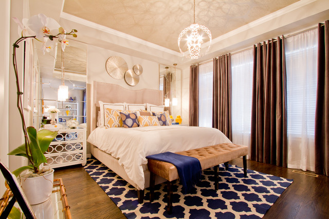Velvet Drapes Bedroom Contemporary with Blue and White Rug