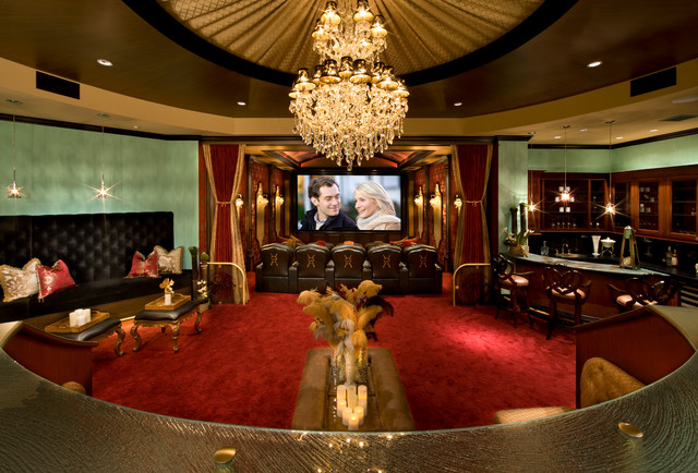 Velvet Drapes Home Theater Traditional with Banquette Bar Cameron Diaz