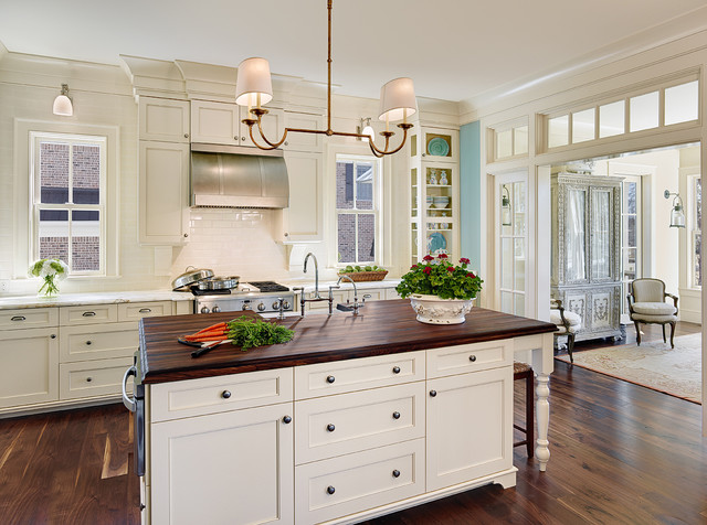 Ventahood Kitchen Traditional with Crown Molding Island Lighting