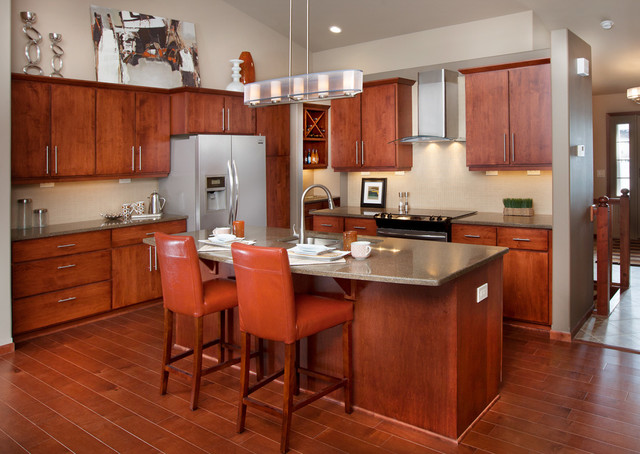 Veridian Homes Kitchen Contemporary with Butlers Pantry Chandelier Cherry