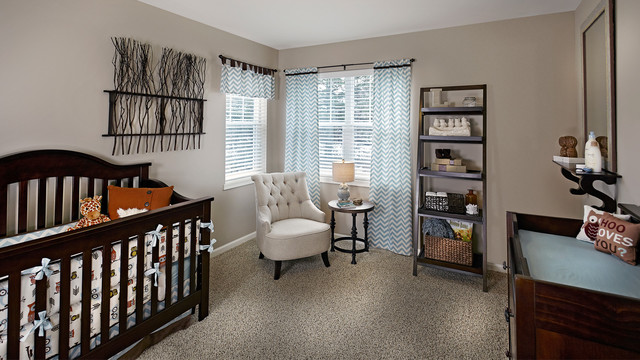 veridian homes Nursery Traditional with bumper carpet changing table