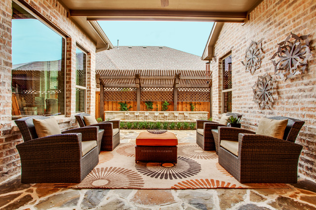 Veridian Homes Patio Transitional with Backyard Retreat Beige Outdoor