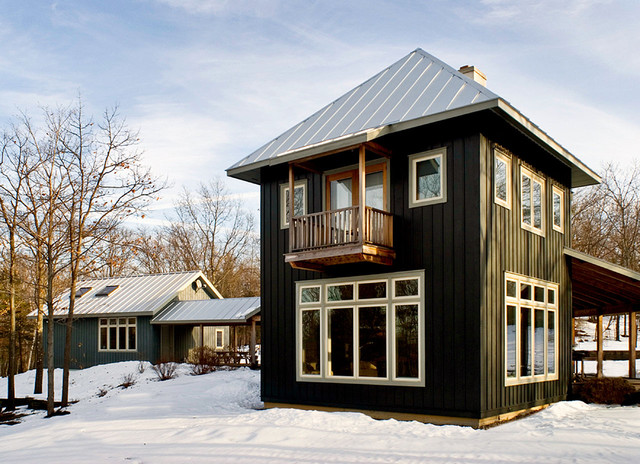 Vertical Siding Exterior Rustic with Balcony Deck French Doors
