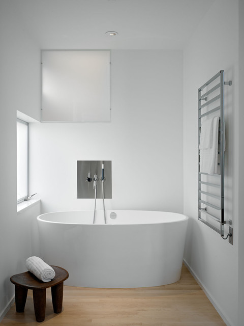Victoria and Albert Tubs Bathroom Modern with Frosted Glass Master Bath