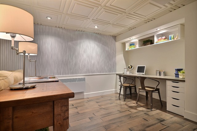 Vinyl Plank Flooring Reviews Basement Traditional with Built in Cabinets Built in Desk