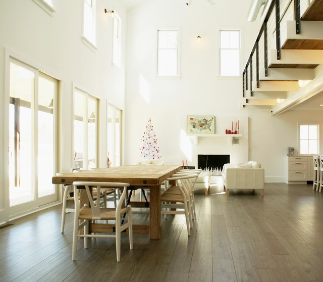 Vinyl Plank Flooring Reviews Dining Room Farmhouse with Balcony Beams Cable Railing