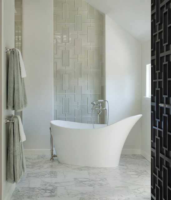 walker zanger Bathroom Contemporary with alcove freestanding tub glass