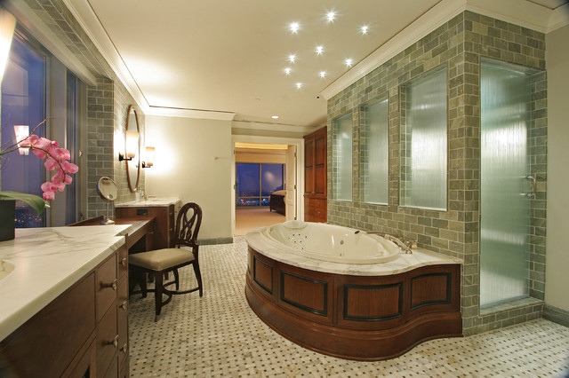 Walker Zanger Tile Bathroom Contemporary with Basketweave Ceiling Lighting Crown