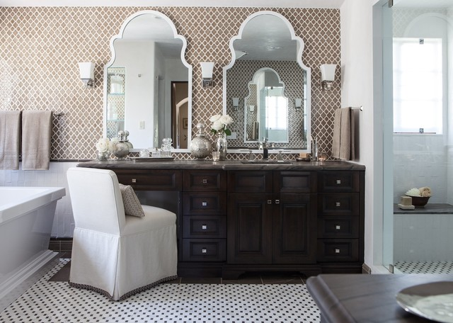 Walker Zanger Tile Bathroom Transitional with Asian Asian Art Asian