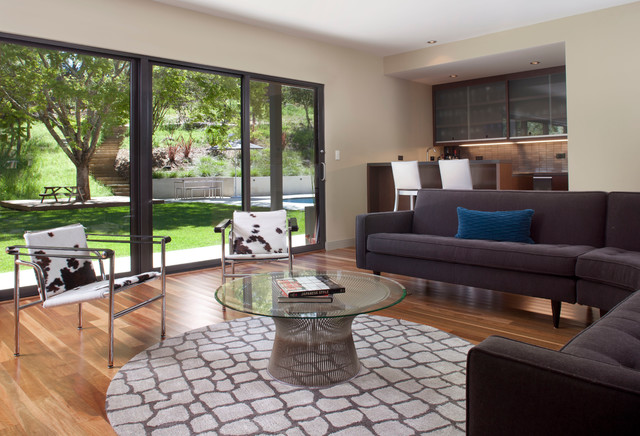 Walker Zanger Tile Living Room Contemporary with Aluminum Sliding Door Black