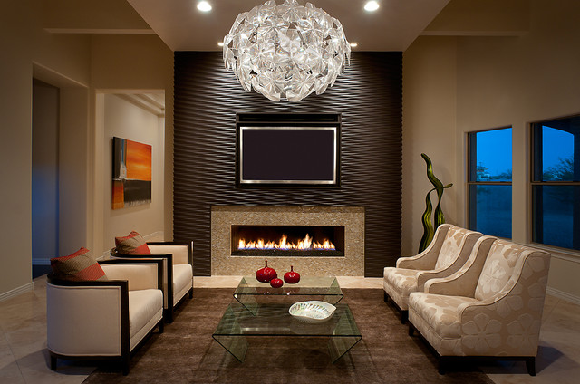 Wall Mount Electric Fireplace Living Room Contemporary with Beige Armchair Beige Chair