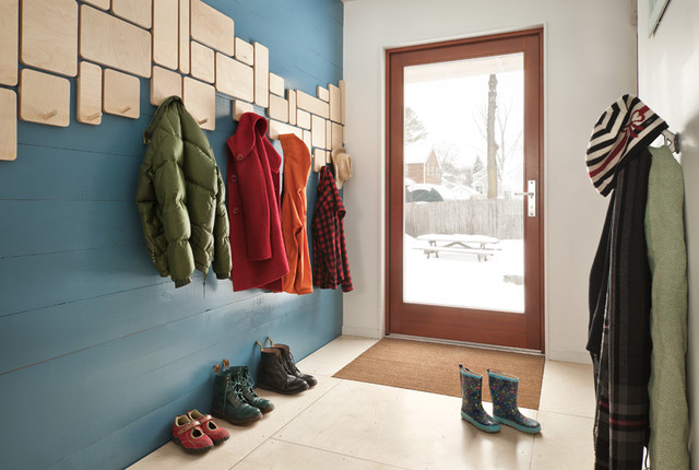 Wall Mounted Coat Rack Entry Contemporary with Blue Wall Cool Coat