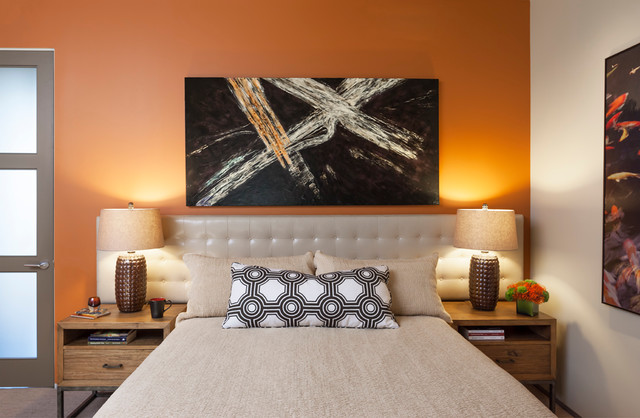 Wall Mounted Headboards Bedroom Contemporary with Asian Modern Beige Bedding