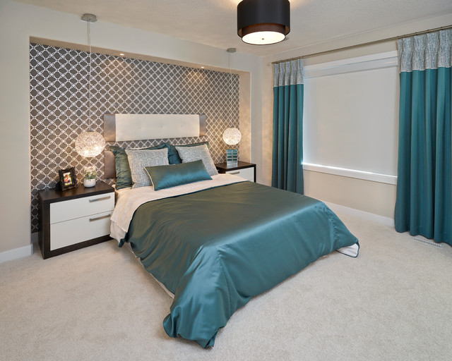 Wall Mounted Headboards Bedroom Contemporary with Beige Carpet Beige Ceiling