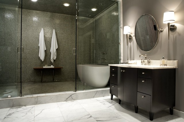 Warmly Yours Bathroom Contemporary with Bathroom Lighting Bathroom Tile