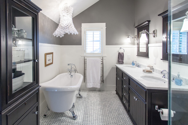 warmly yours Bathroom Traditional with black cabinet black vanity
