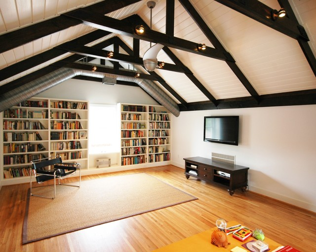 Wassily Chair Family Room Contemporary with Area Rug Attic Remodel