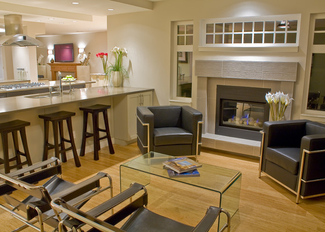 wassily chair Family Room Contemporary with bar bar stool barstools