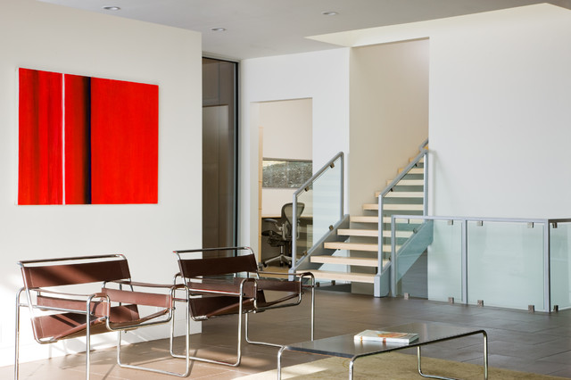 Wassily Chair Living Room Contemporary with Abstract Art Brown Chairs