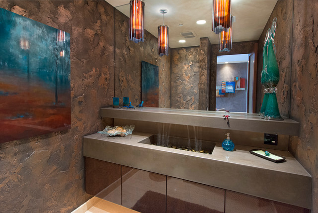 Waterfall Faucet Powder Room Contemporary with Art Floating Vanity Pendant