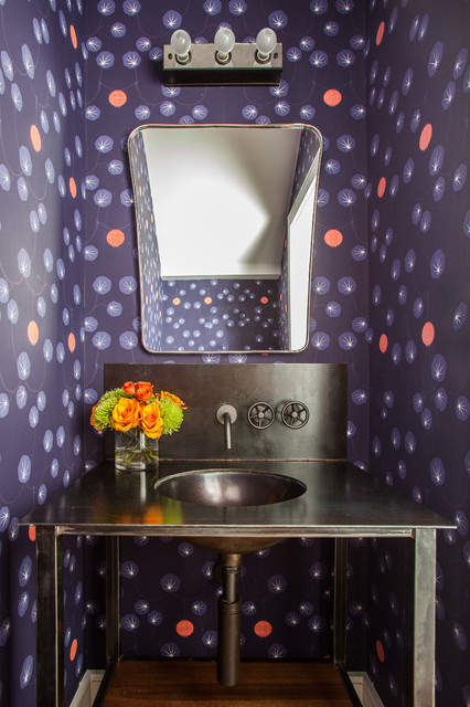 Watermark Faucets Powder Room Contemporary with Americana Bright Coloful Dark