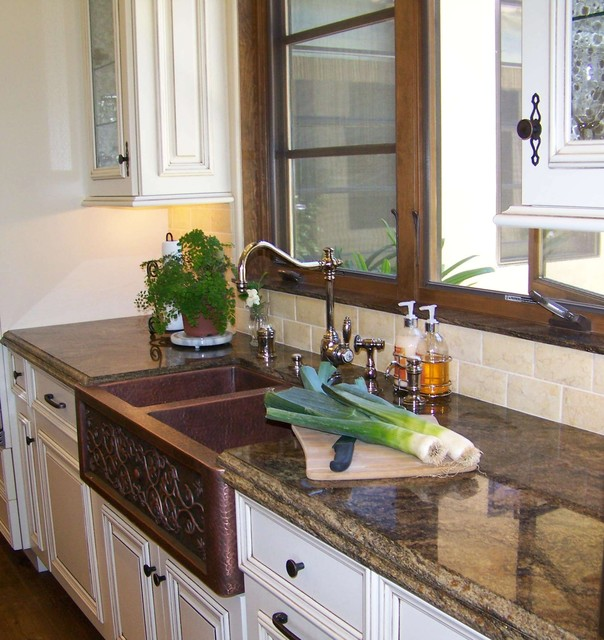 waterstone faucets Kitchen Traditional with apron sink distressed furniture