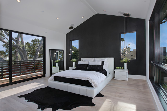 white-cowhide-rug-Bedroom-Contemporary-with-balcony-bedding-black ...