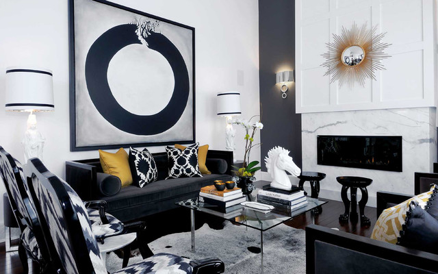 White Cowhide Rug Living Room Contemporary with Accent Wall Artwork Black