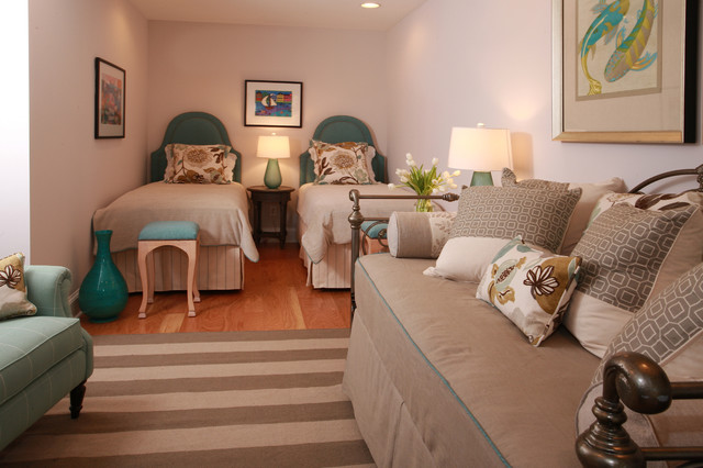 White Daybed with Trundle Bedroom Traditional with Aqua Beach House Bedroom