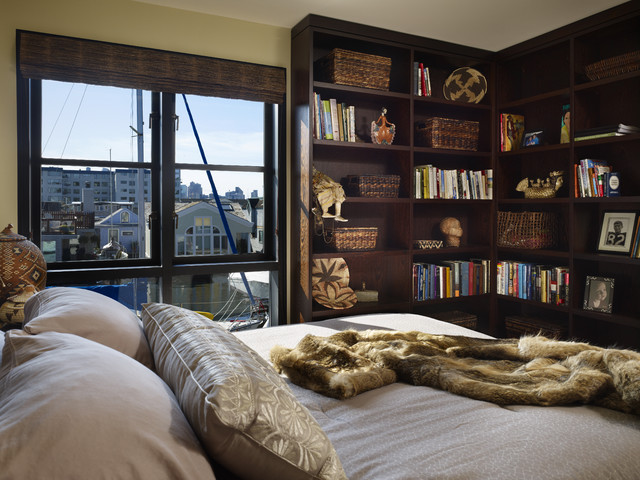 Wicker Basket Storage Bedroom Contemporary with Bookcase Bookshelves Casement Windows