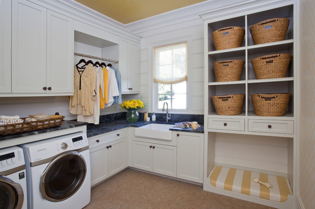 Wicker Basket Storage Laundry Room Transitional with Built in Clothing Rail