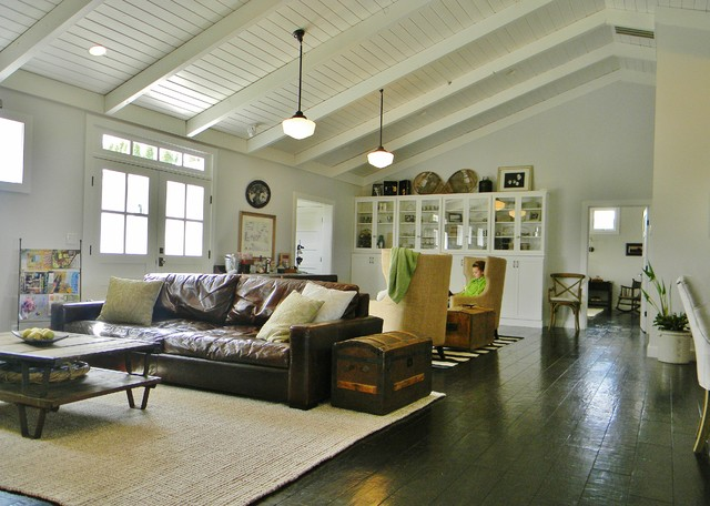 Wide Plank Flooring Family Room Farmhouse with Brown Leather Sofa Dark1