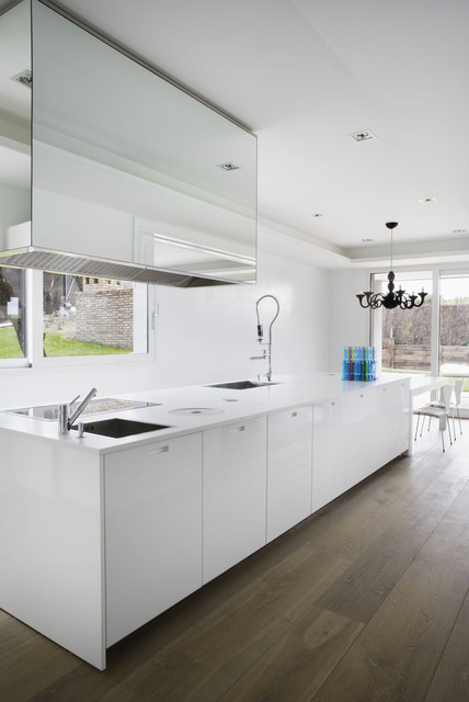 Wide Plank Flooring Kitchen Modern with Black and White Black1