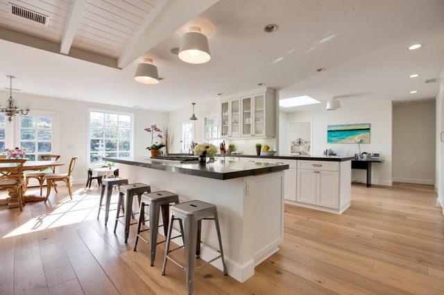 Wide Plank Hardwood Flooring Kitchen Traditional with Caesarstone Grey Countertop Hardwood