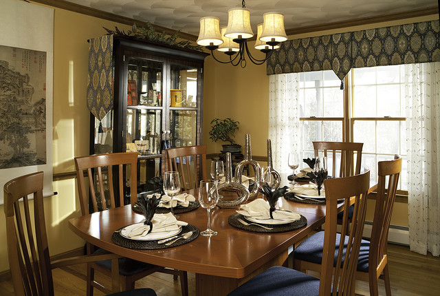 window cornice Dining Room Contemporary with centerpiece chandelier chandelier shades