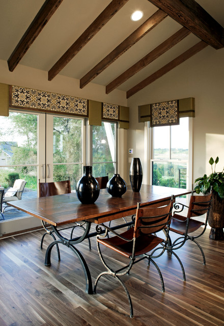 Window Cornice Dining Room Traditional with Beams Cornice Dining Table