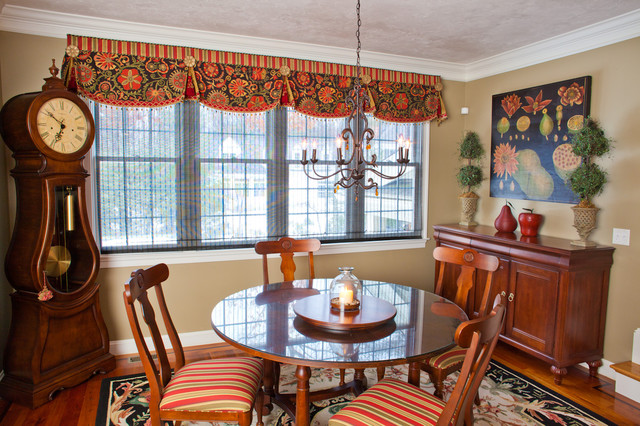 Window Valance Ideas Dining Room Traditional with Chandelier Clock Curtains Cushions