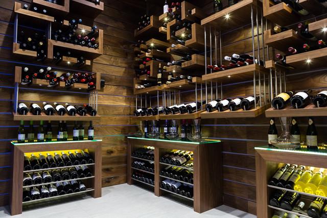 Wine Bottle Chandelier Wine Cellar Contemporary with Decanturs Geometric Wine Shelves