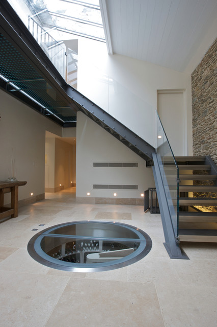 Wine Cellar Innovations Staircase Contemporary with Limestone Floor Limestone Wine