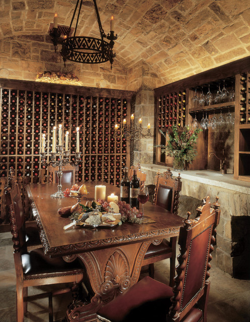 wine cellar innovations Wine Cellar Rustic with barrel vault built-in storage