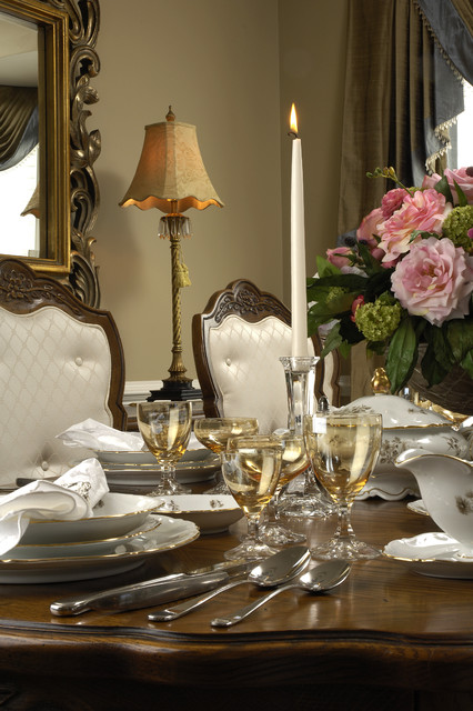 wine goblets Dining Room Traditional with buffet centerpiece china glassware