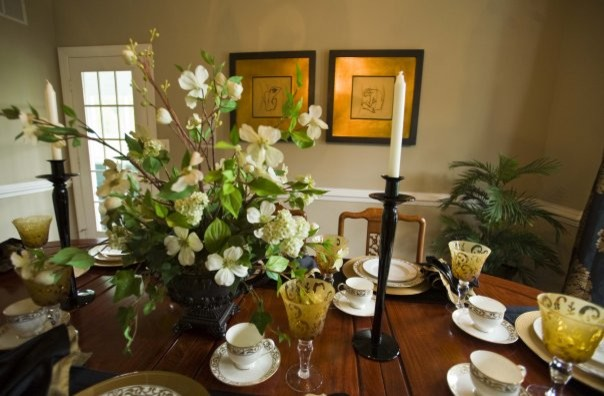Wine Goblets Dining Room Transitional with Black and Gold Drapery