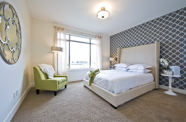 Wingback Bed Bedroom Transitional with Accent Wall Bedside Table