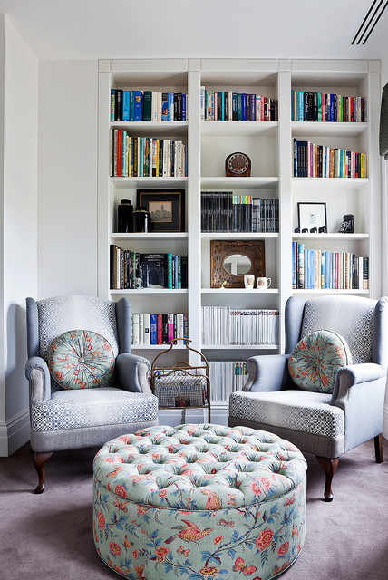 wingback chairs Family Room Contemporary with bird fabric built-in bookcase