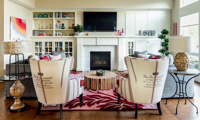 Wingback Chairs Family Room Eclectic with Beige Cabinets Beige Fireplace