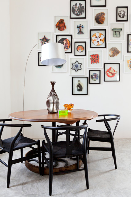 Wishbone Chair Dining Room Mediterranean with Arc Lamp Art Black
