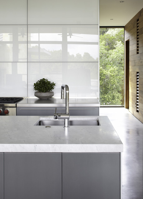 Wolf Stoves Kitchen Contemporary with Concrete Floor Floor to Ceiling Windows